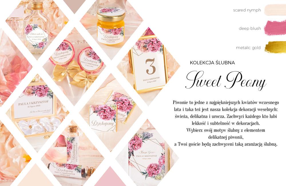Kolekcja dekoracji na ślub i wesele z grafiką rózowych kwiatów piwonii i geometrycznym wzorem na papeterii ślubnej.