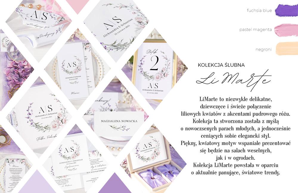 Piękna kolekcja ślubna LiMarte z modną grafiką wianuszka. Idealnie sprawdzi się, aby stworzyć romantyczną aranżację wnętrza.