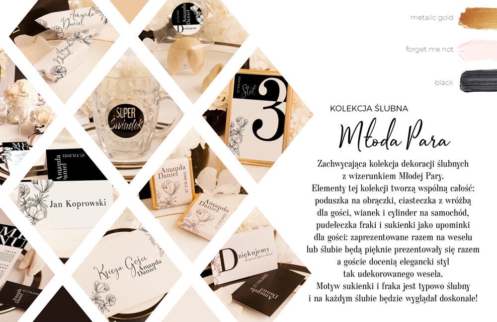 Elegancka czarno-biała kolekcja ślubna z dekoracjami na wesele. Idealnie sprawdzi się na wesele w stylu glamour.