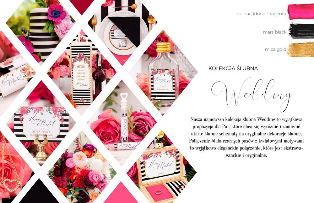 Mega nowoczesna grafika na dodatki weselne. Czarno-białe pasy dekorowane różowymi kwiatami.