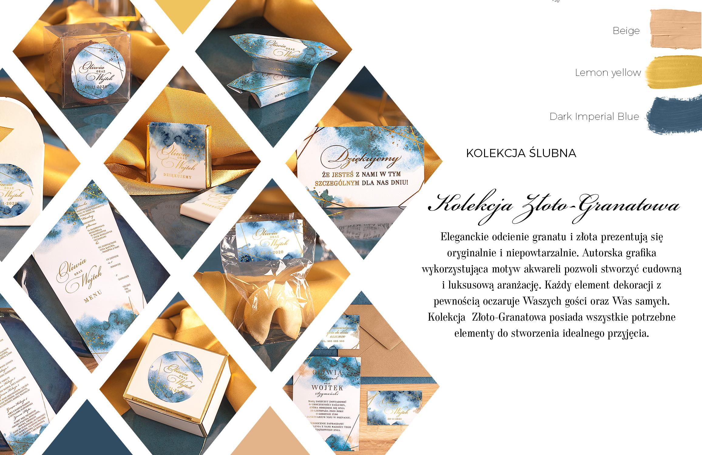 Papeteria na ślub i wesele - menu weselne i bileciki dla gości w kolorze niebieskim z metalicznymi złoceniami.